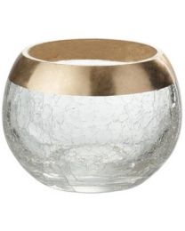 J-LINE KAARSHOUDER BOL CRACKLE GLAS GOUD S (10X10X8.5CM)