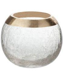J-LINE KAARSHOUDER BOL CRACKLE GLAS GOUD M (12X12X10.5CM)