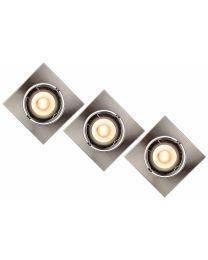 LUCIDE LED INBOUWSPOT VIERKANT 3X5W CHROOM